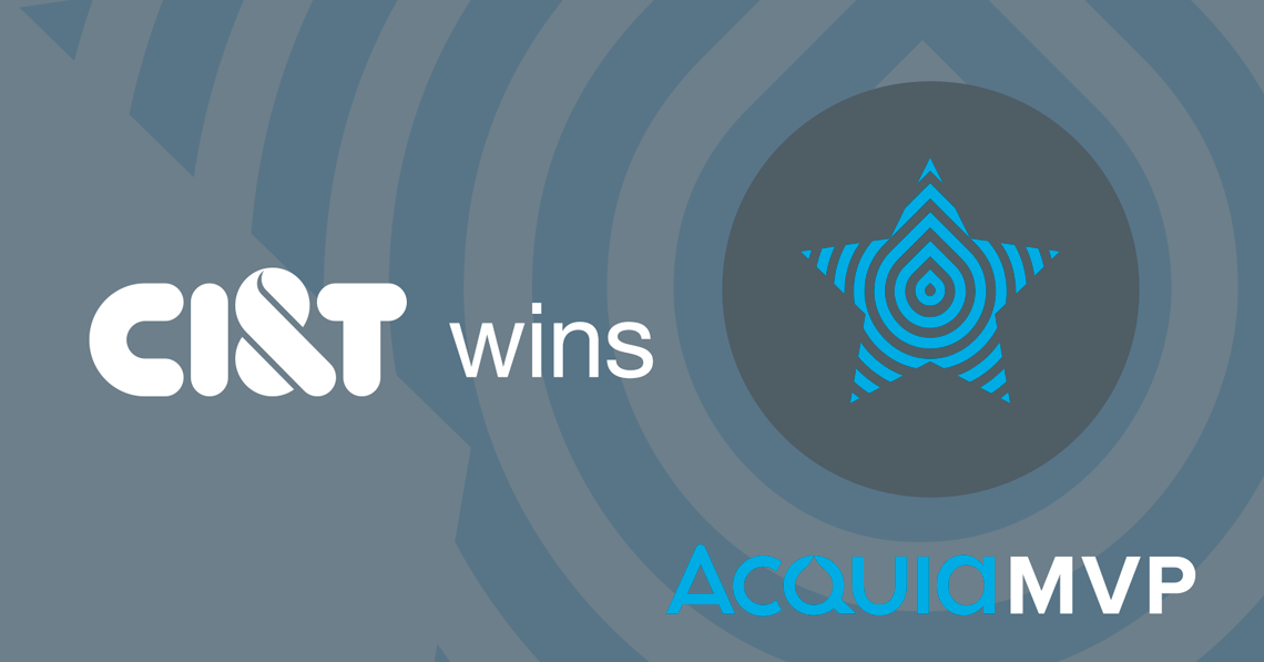A grey background with the saying Acquia Partner of the Year 2017