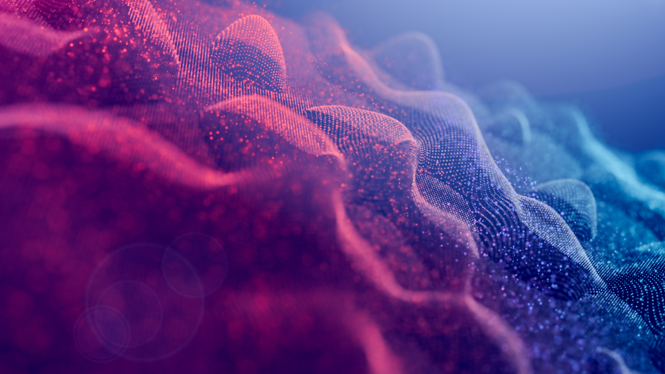 Abstract background with waved particles curve
