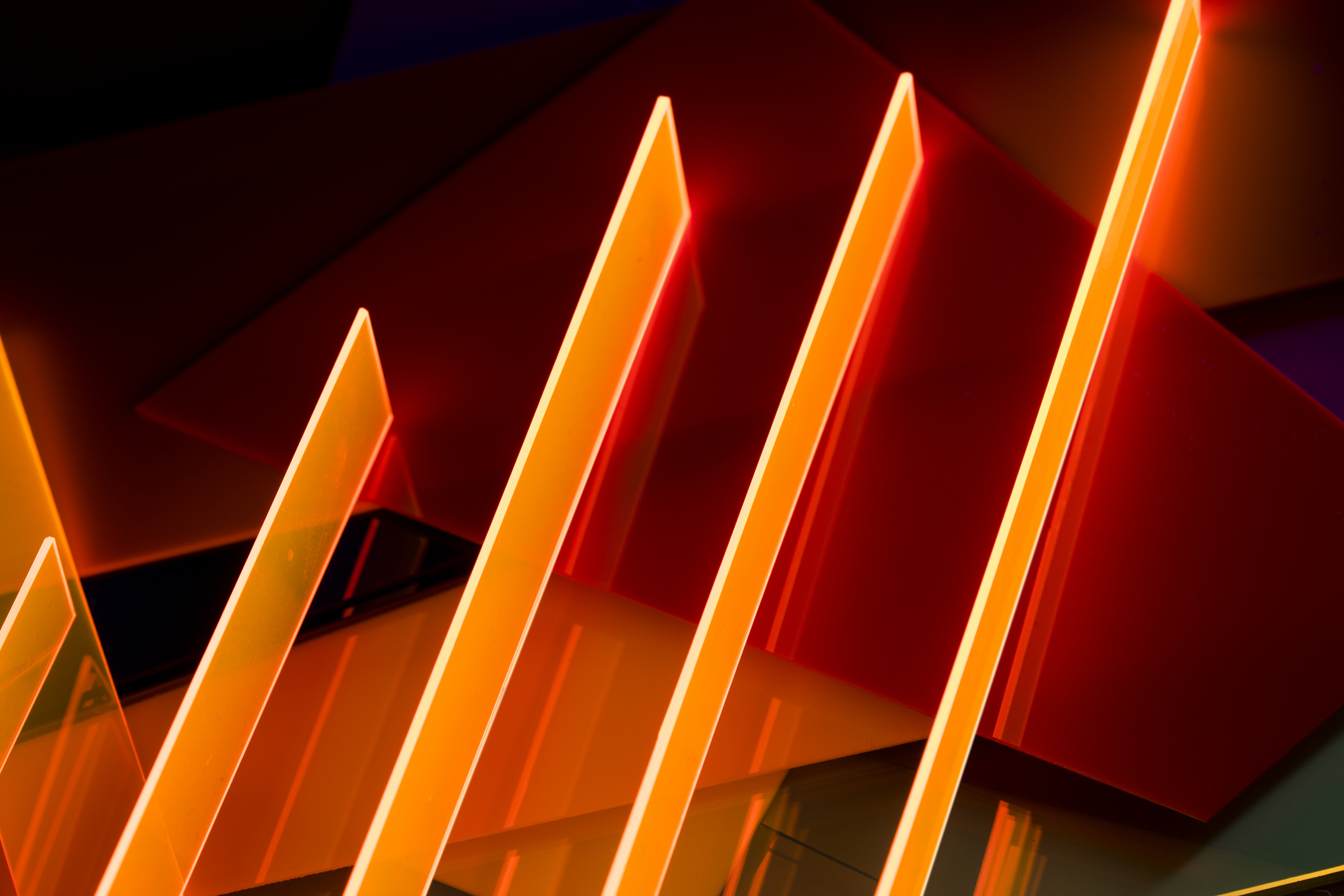 Abstract orange acrylic structures