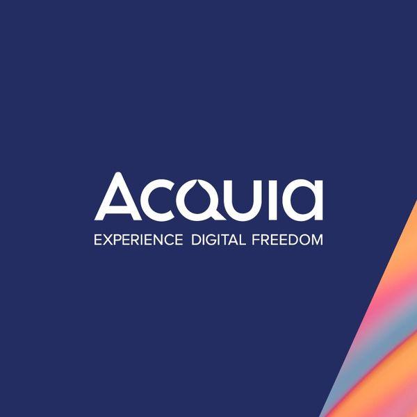Acquia logo in a blue background