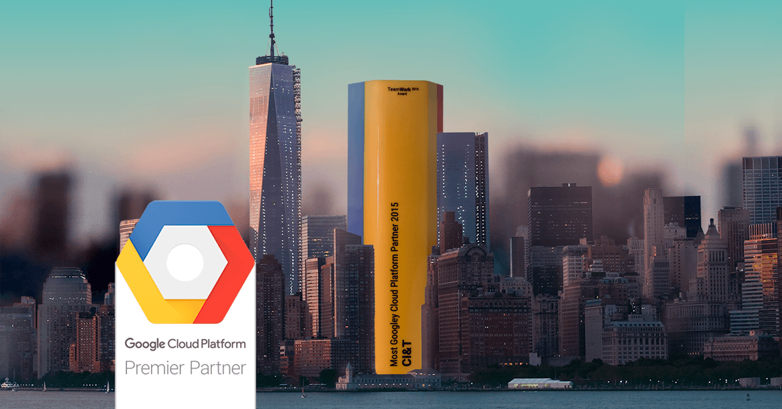 City scape with Google Cloud Platform Premier Partner trophy