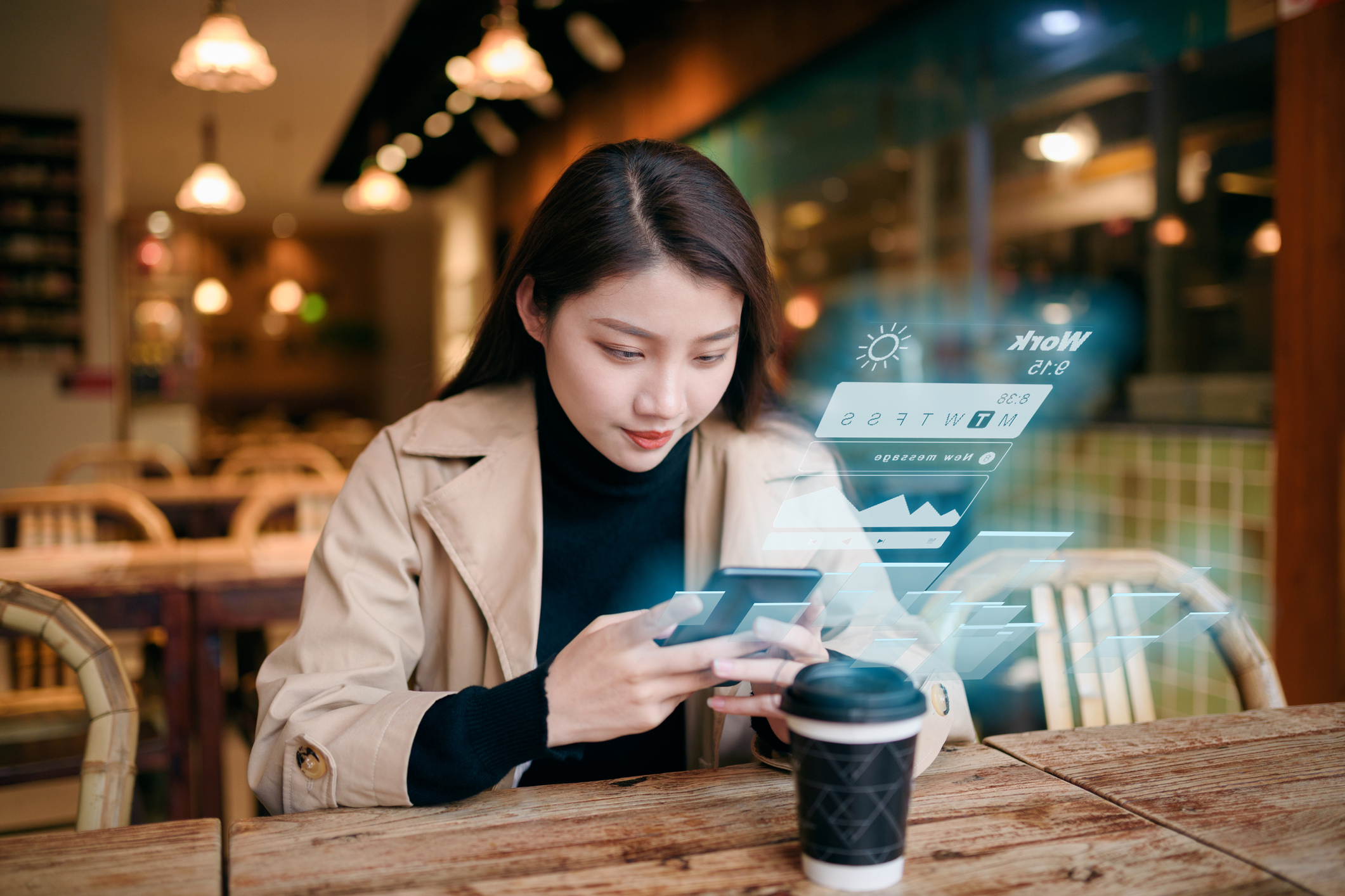 Woman uses mobile phone on virtual visual screen in cafe