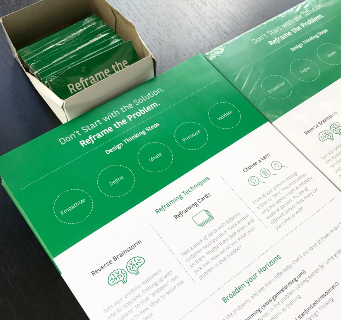 A brochure-looking material that shows how to reframe a problem in order to solve it