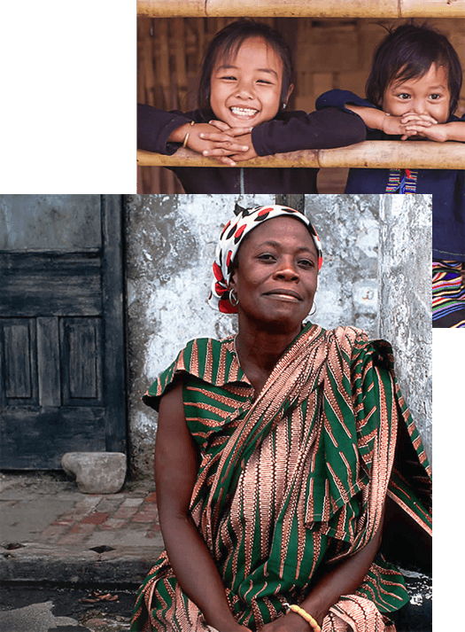 Collage of a black woman on the foreground and two kids together on the background