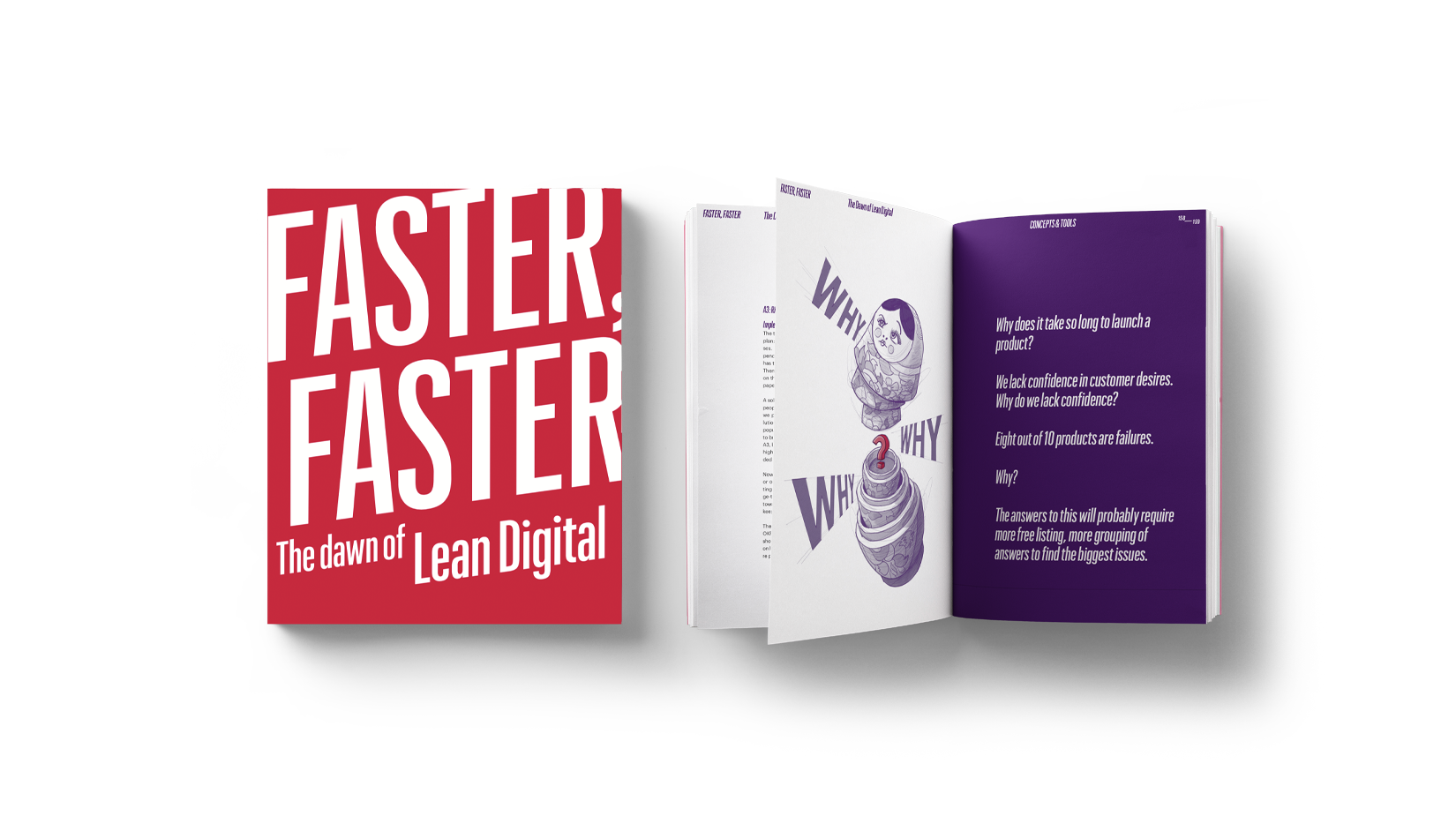A mockup of the Faster Faster book open