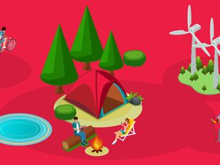 An illustration of the people in the outdoors on a red background