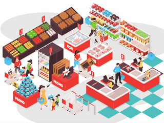 Innovating in grocery cover with an illustration of and inside of a grocery store