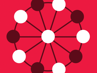 An illustration of a ferris wheel on a red background