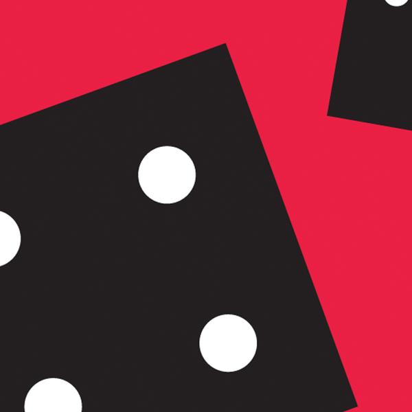 Em um fundo vermelho, dois dados pretos estão caindo