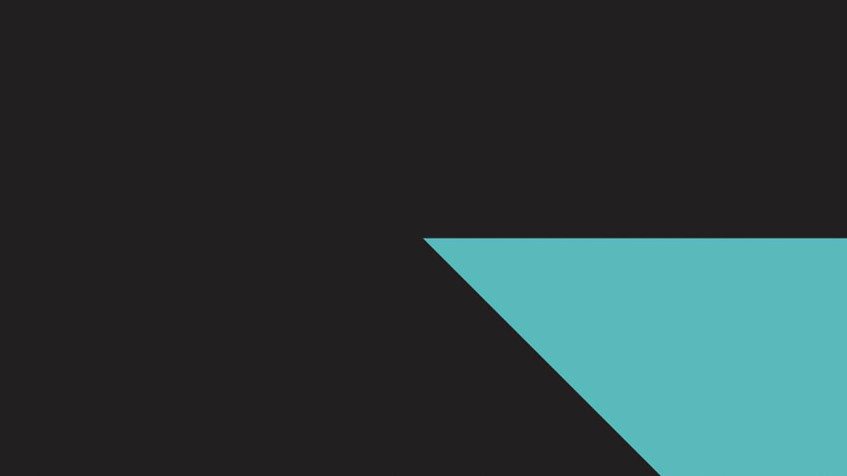 Dark background with an aquamarine triangle on the bottom right corner