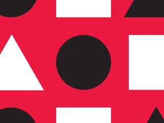 Em um fundo vermelho, vários triângulos, círculos e quadrados