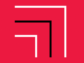 A red background with a black line between two white lines