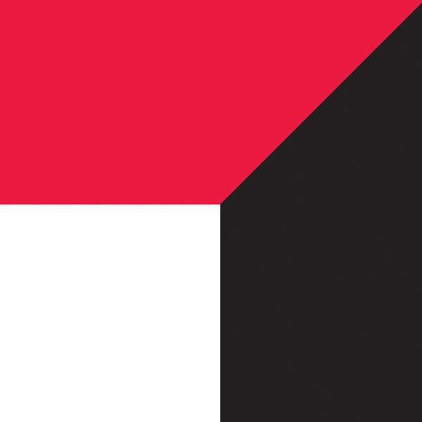 Imagem dividida em três partes, uma branca, uma vermelha e uma preta