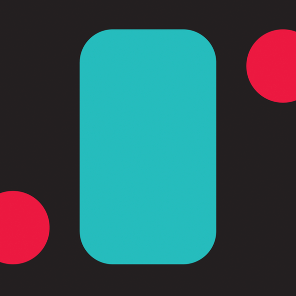 Dark background with a blue rectangule with round corners and two red circles