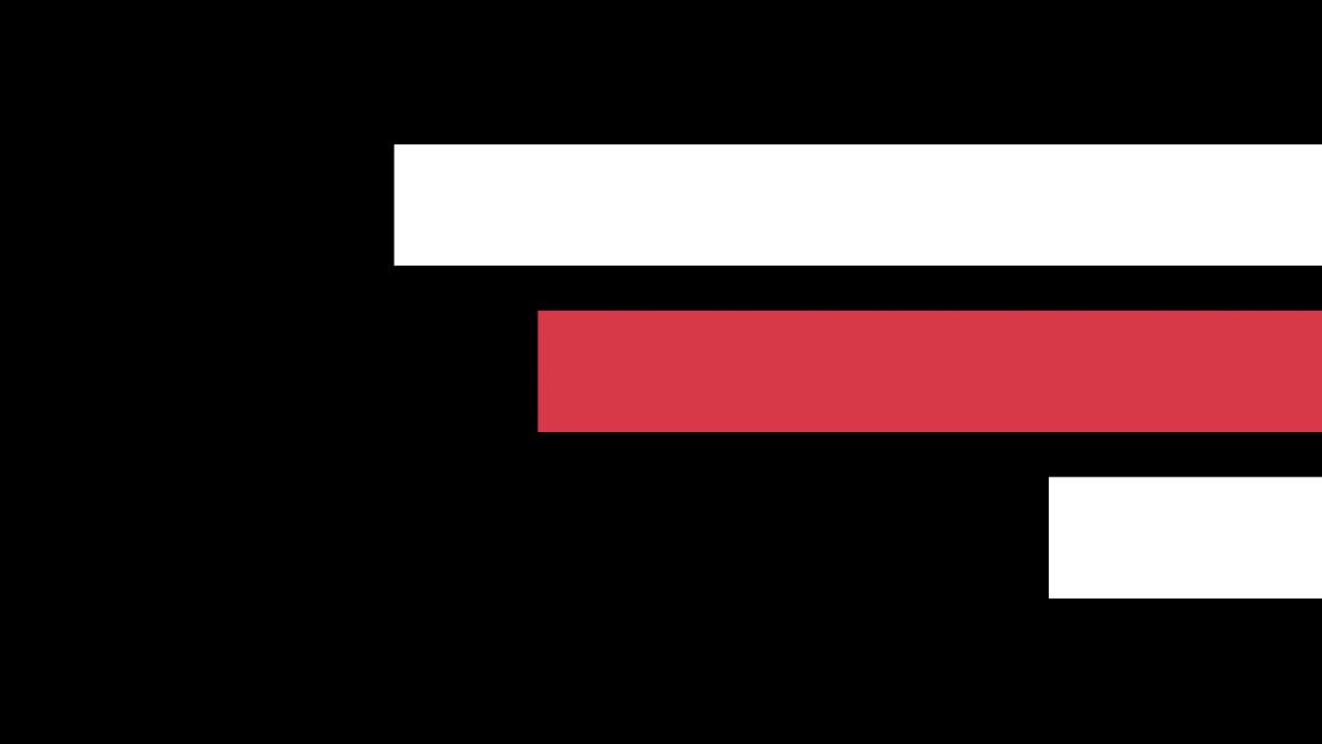 Em um fundo preto, duas linhas brancas intercaladas por uma linha vermelha cruzam a tela