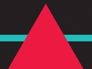 A dark background with a red triangle and a blue line in the middle of it