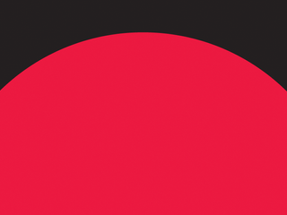 Dark background with a red half-circle