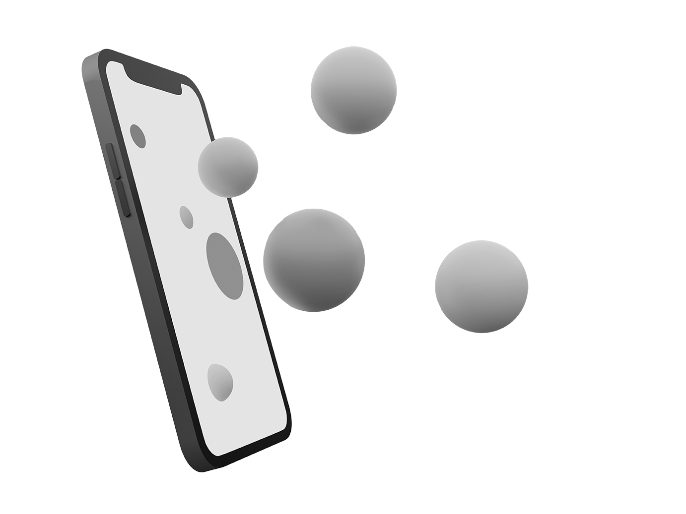 Smartphone floating with bubbles poppin out of it