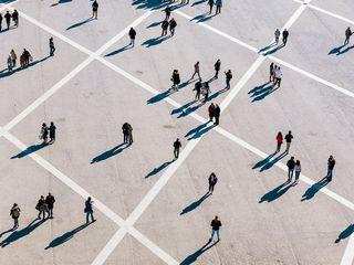 Top view of people walking on street