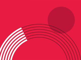Fundo vermelho com linhas claras e escuras formando um meio círculo