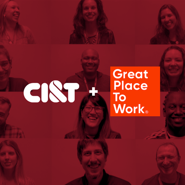 A grid of people smiling with a red overlap with the CI&T and Great Place to Work logos