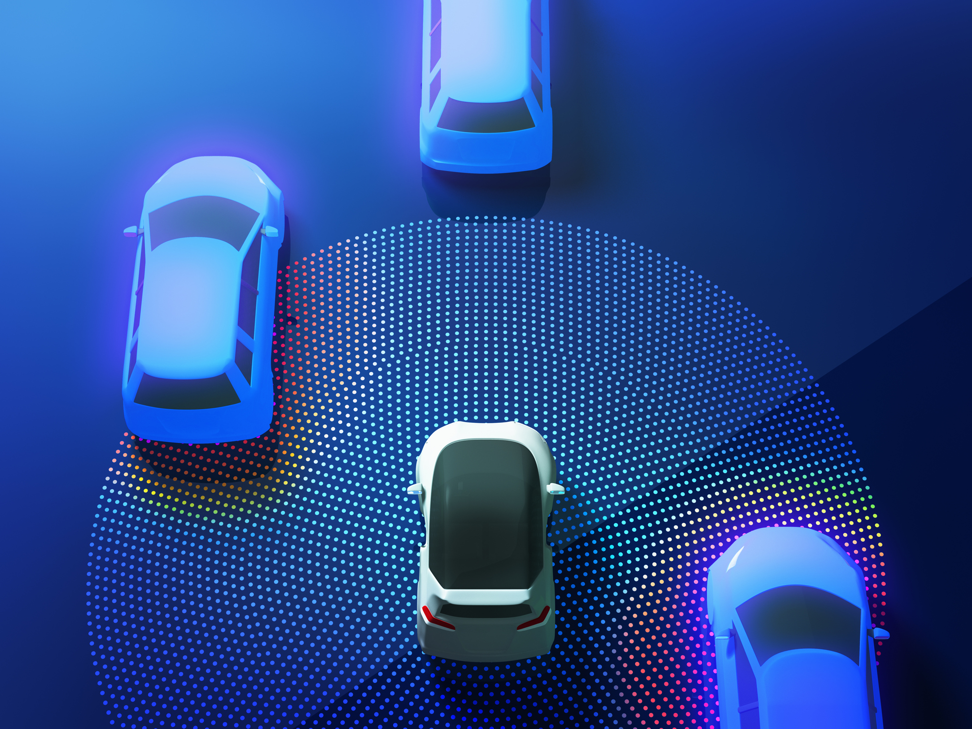 Auto driving smart cars on a blue background