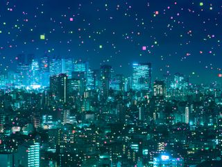 Cityscape with abstract light particle
