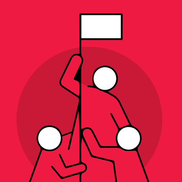 Illustration of three persons sticking a flag