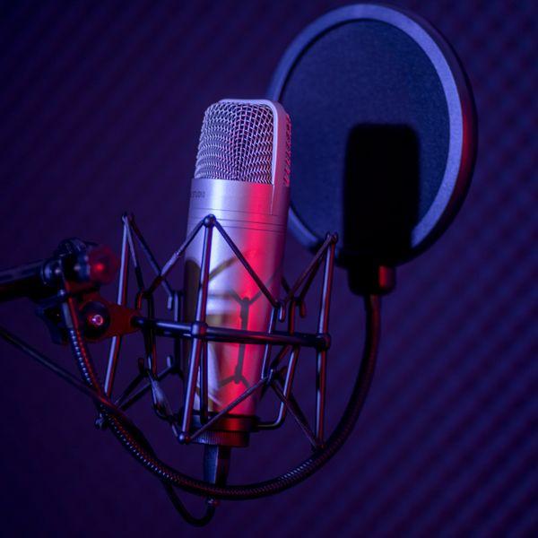 Microphone in radio station broadcasting studio