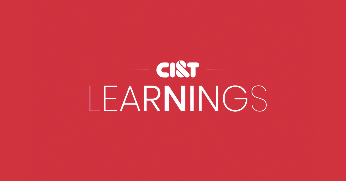 """Red background with CI&T logo and the word """"Learnings"""""""